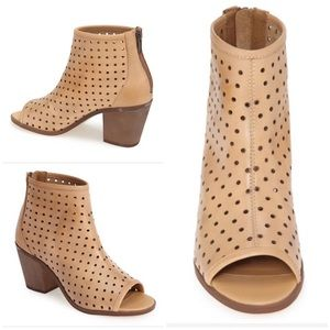 Kelsi Dagger Natural 'kyoto' Leather Peep Toe Boot